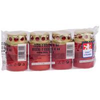 Grablichte 45g mit Deckel, rot, 4er