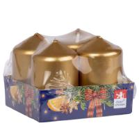Pillar candle 40x60mm lacquered , 4 pcs in tray