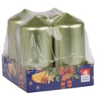 Pillar candle 40x80mm lacquered , 4 pcs in tray