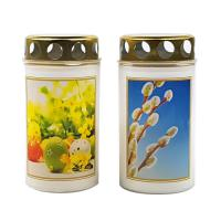 Graveyard light 100g with lid, white cup with Easter picture